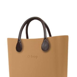 O bag kabelka MINI Biscotto s hnědými krátkými koženkovými držadly