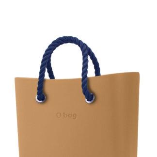 O bag kabelka MINI Biscotto s tmavě modrými krátkými provazy