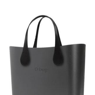 O bag  kabelka MINI Grafite s krátkými koženkovými držadly Extra Slim Nero