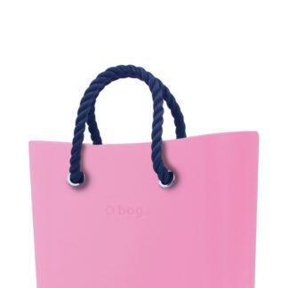 O bag kabelka MINI Pink s tmavě modrými krátkými provazy