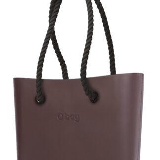 O bag kabelka Chocolate s černými dlouhými provazy