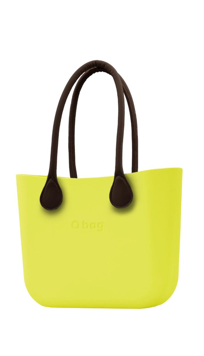 O bag kabelka Lime s hnědými dlouhými koženkovými držadly