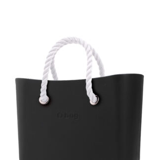 O bag kabelka MINI Nero s bílými krátkými provazy