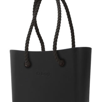 O bag kabelka MINI Nero s černými dlouhými provazy