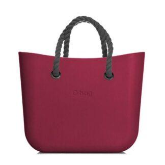 O bag kabelka MINI Sangria s šedými krátkými provazy