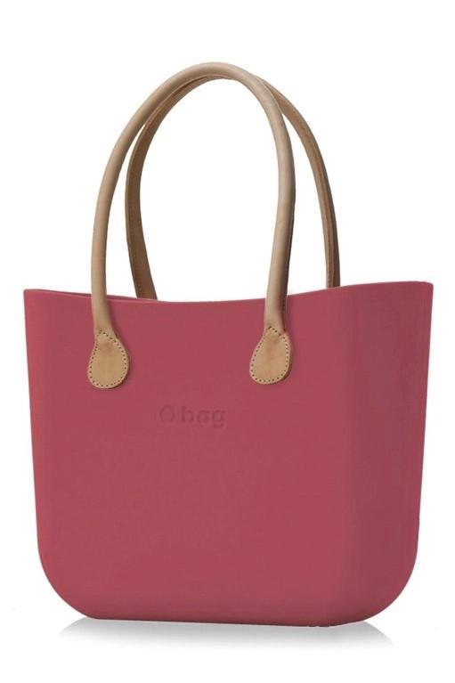 O bag kabelka Marsala s dlouhými koženkovými držadly natural