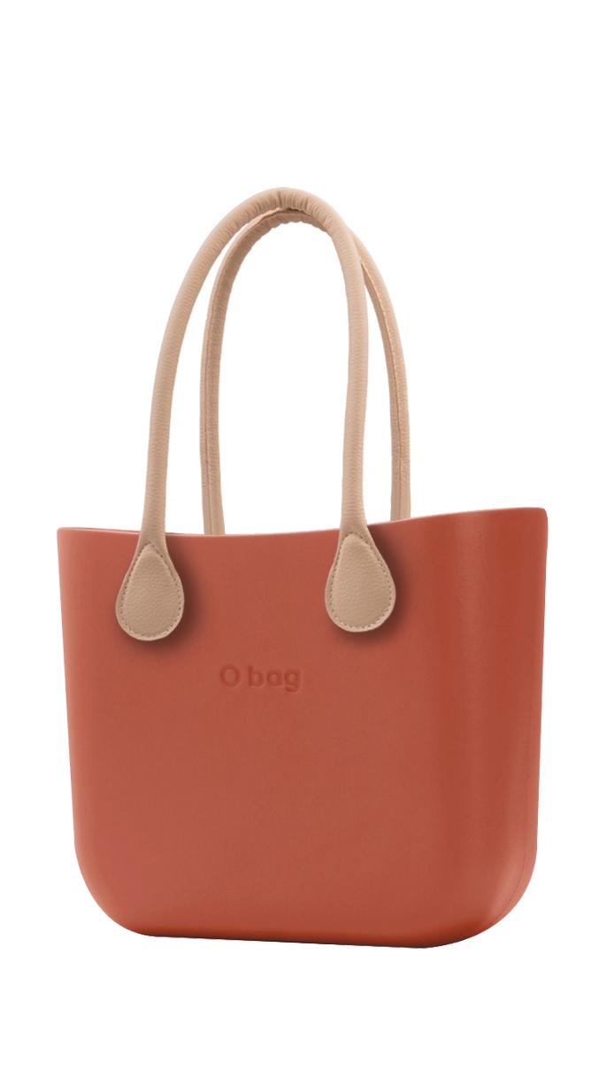 O bag kabelka Terracotta s dlouhými koženkovými držadly natural