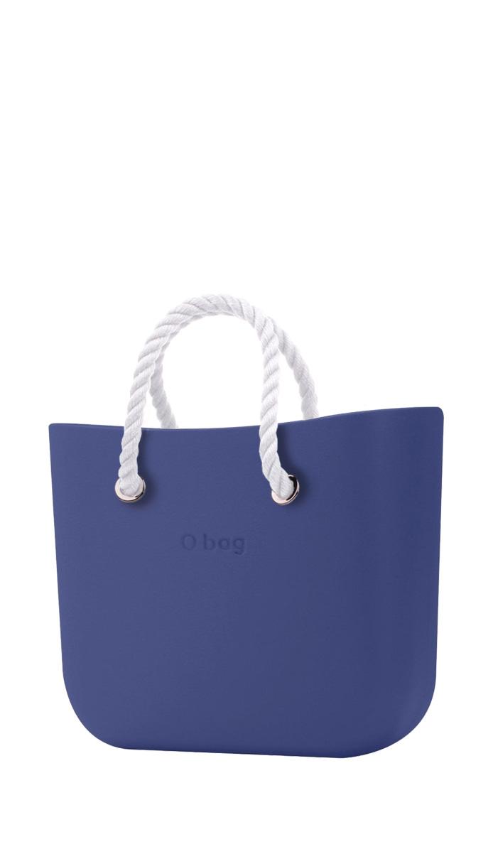 O bag kabelka MINI Cobalto s bílými krátkými provazy